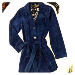 NWOT blue Suede, fully lined coat, machine washabl